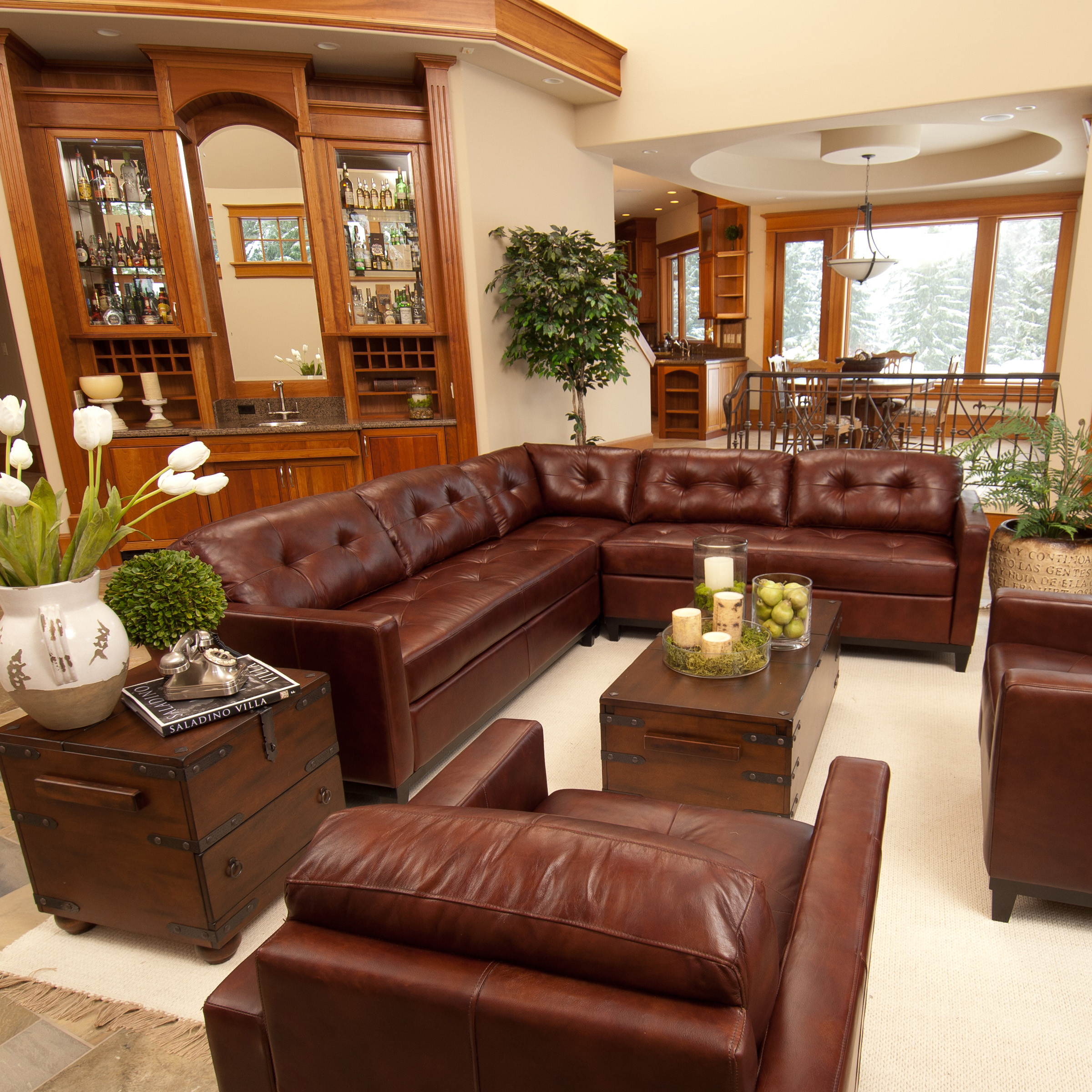 Elements Carlton 3 Piece Top Grain Leather Sectional Collection   Raisin