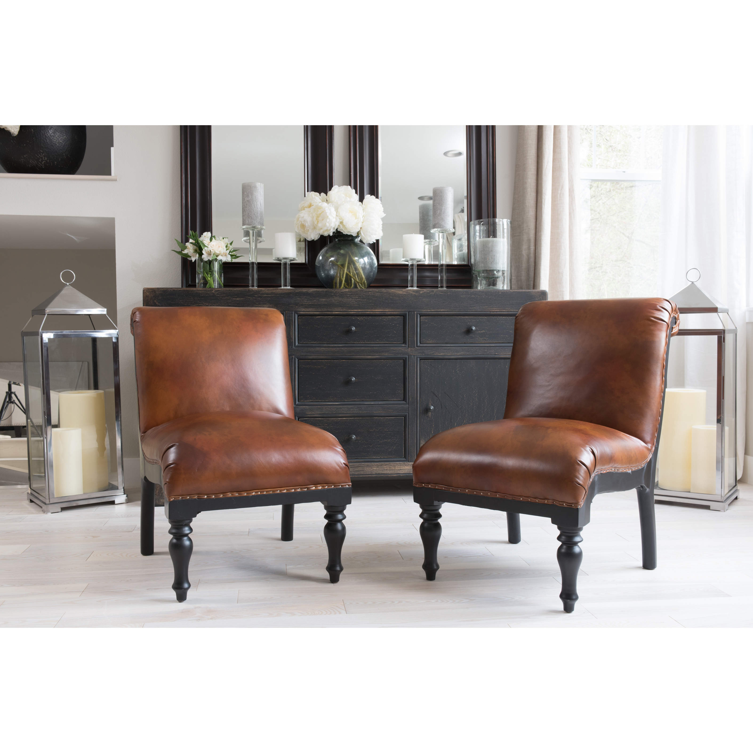 Bon Elements Fine Home Furnishings Wilshire Top Grain Leather Accent Chair