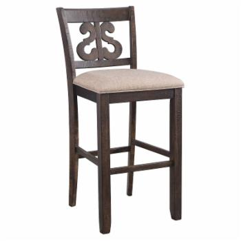 Picket House Furnishings Stanford 30 in. Upholstered Swirl Back Bar Stool - Set of 2