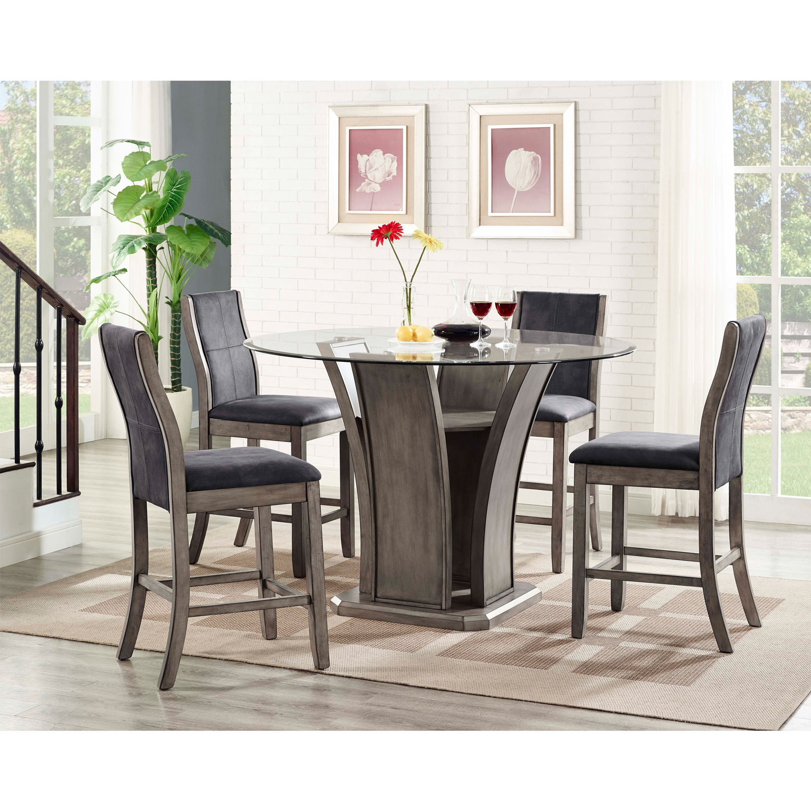 Picket House Furnishings Dylan 5 Piece Counter Height Dining Table Set