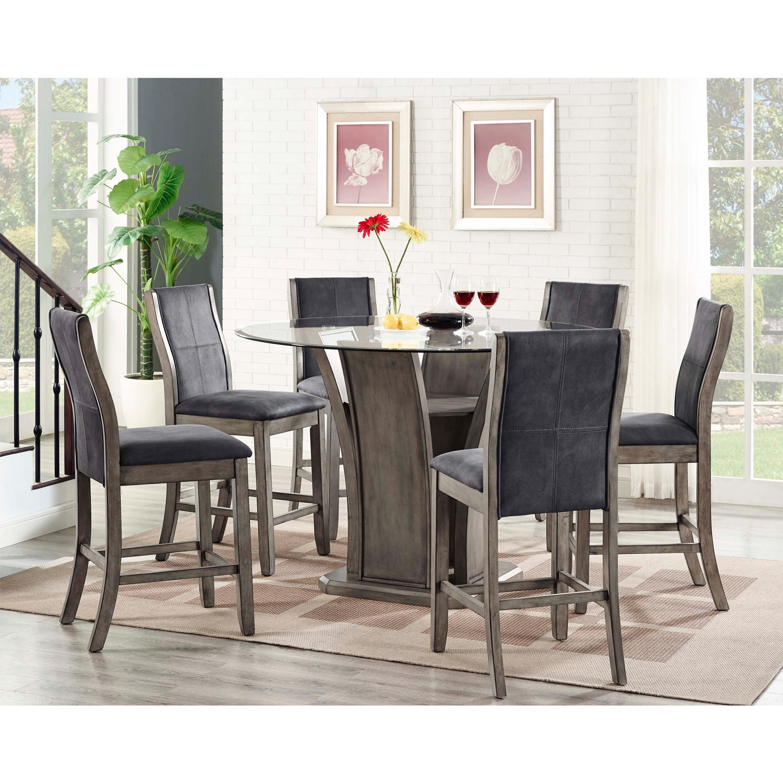 Picket House Furnishings Dylan 7 Piece Counter Height Dining Table Set