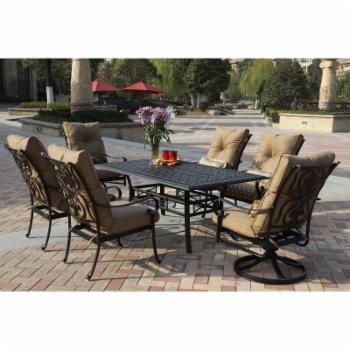 Darlee Santa Anita Cast Aluminum 7 Piece Rectangular Patio Dining Set