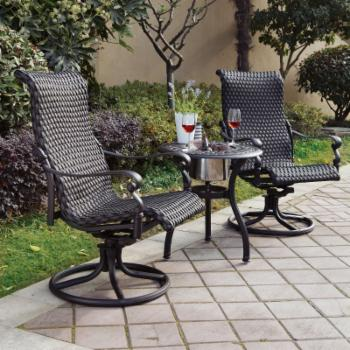 Darlee Victoria Wicker 3 Piece Round Patio Bistro Set with Ice Bucket