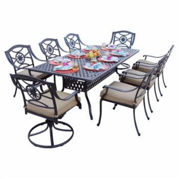 Darlee Ten Star 9 Piece Aluminum Rectangular Patio Dining Set