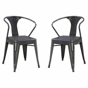 Emerald Home Dakota III Industrial Splat Back Dining Chair - Set of 2