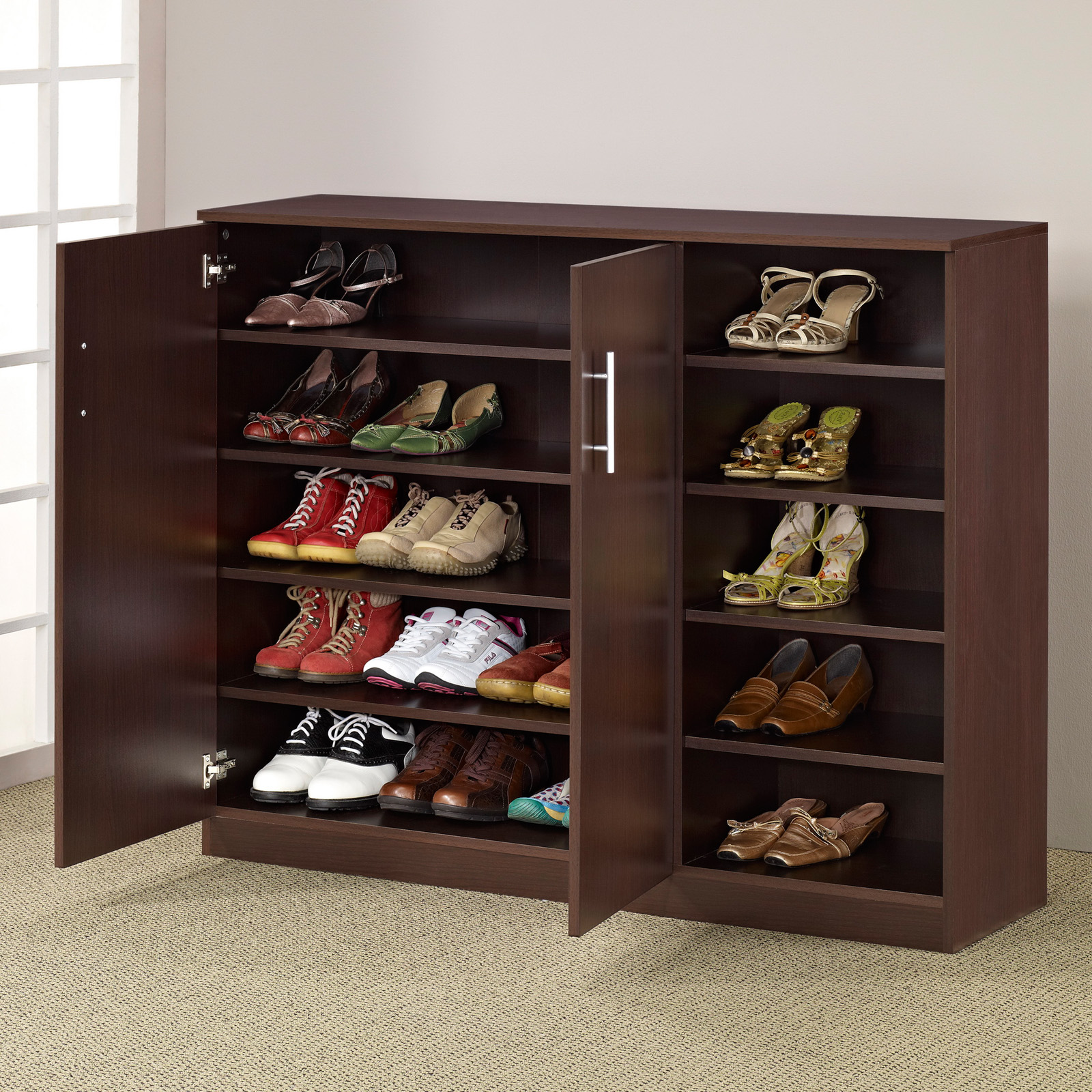 Furniture of America Grande Multi-Purpose & Shoe Cabinet - Walnut |  Hayneedle