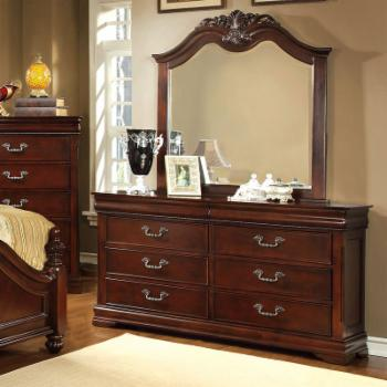 Furniture of America Grand Central 6 Drawer Dresser - Cherry