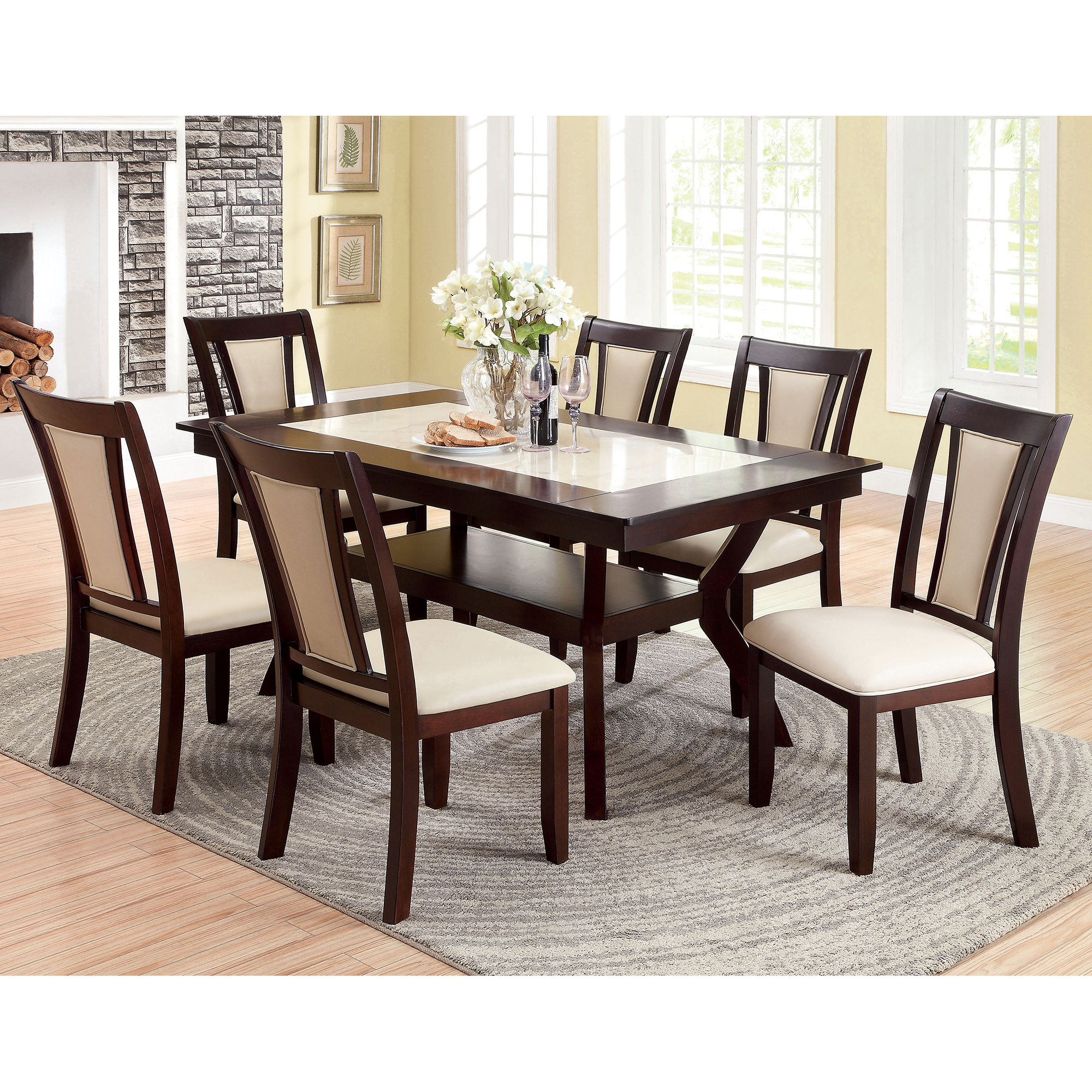 furniture of america mullican 7 piece display top dining table set furniture of america mullican 7 piece display top dining table set dark cherry ivory hayneedle