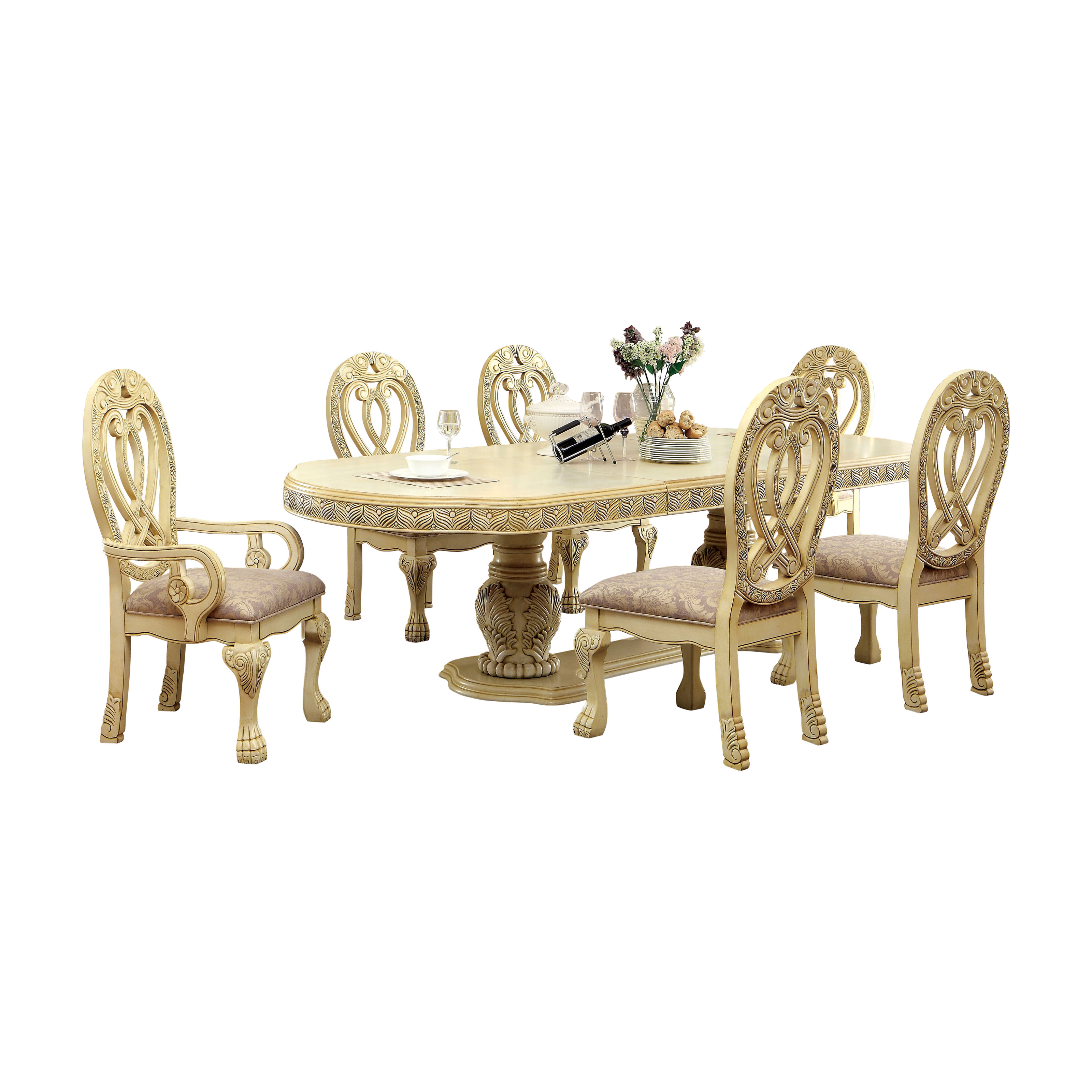 Furniture Of America Grandberry Traditional 7 Piece Dining Table Set   White  | Hayneedle