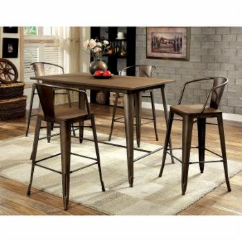 Furniture of America Olmsted 5 Piece Counter Height Metal Framed Dining Table Set
