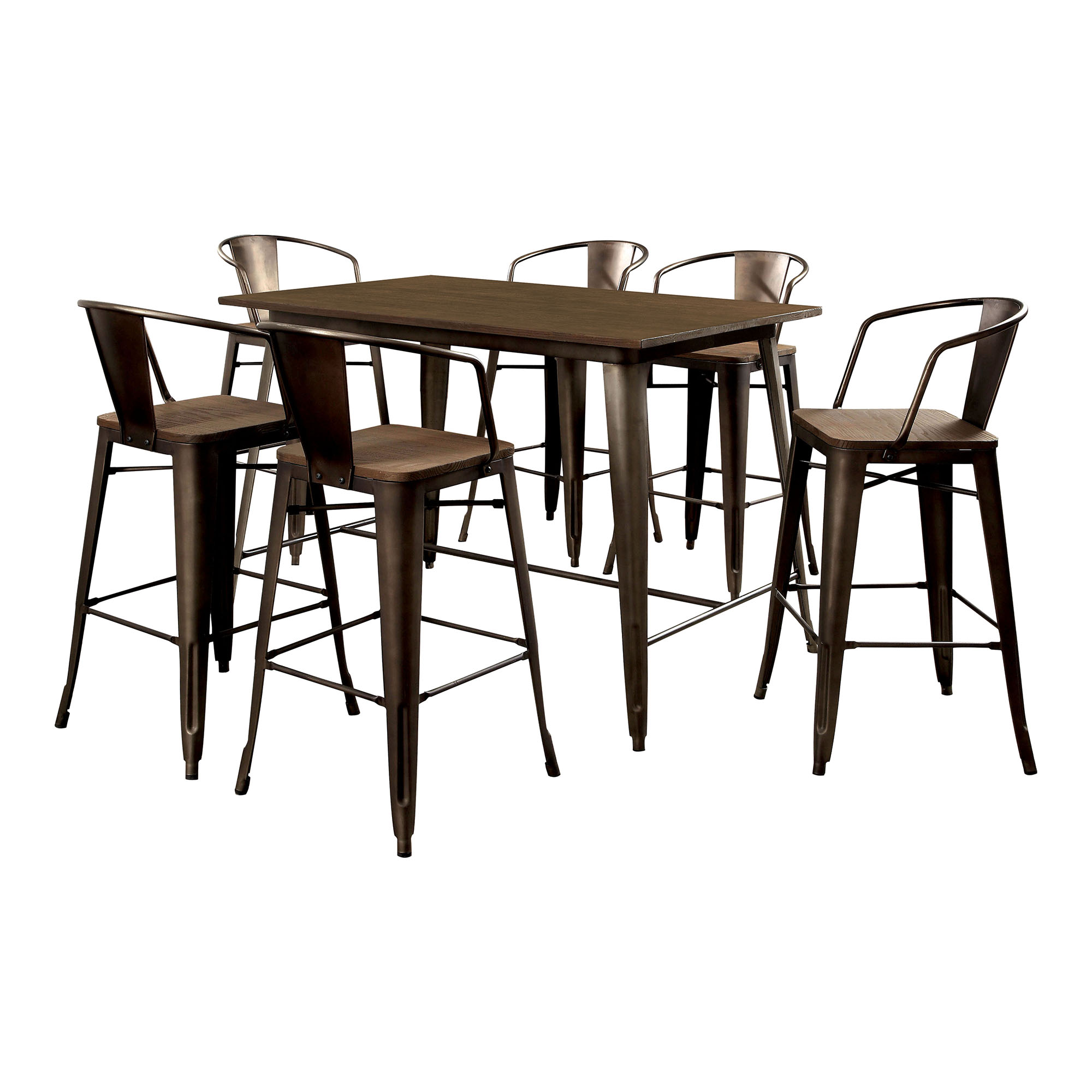 Furniture of America Olmsted 7 Piece Counter Height Metal Framed Dining Table Set | Hayneedle  sc 1 st  Hayneedle & Furniture of America Olmsted 7 Piece Counter Height Metal Framed ...