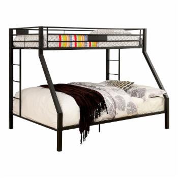 Furniture of America Westin Contemporary Twin Over Queen Bunk Bed - Black