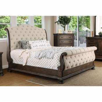 Furniture of America Cleon III Traditional Tufted Fabric Sleigh Bed