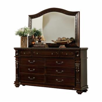 Furniture of America Lansal Traditional 9-Drawer Genuine Marble Top Dresser with Mirror