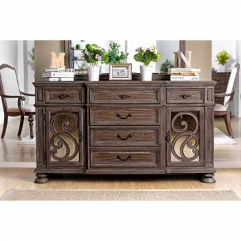 Furniture of America Seran Transitional Ornate 6-Drawer Multi-Storage Server