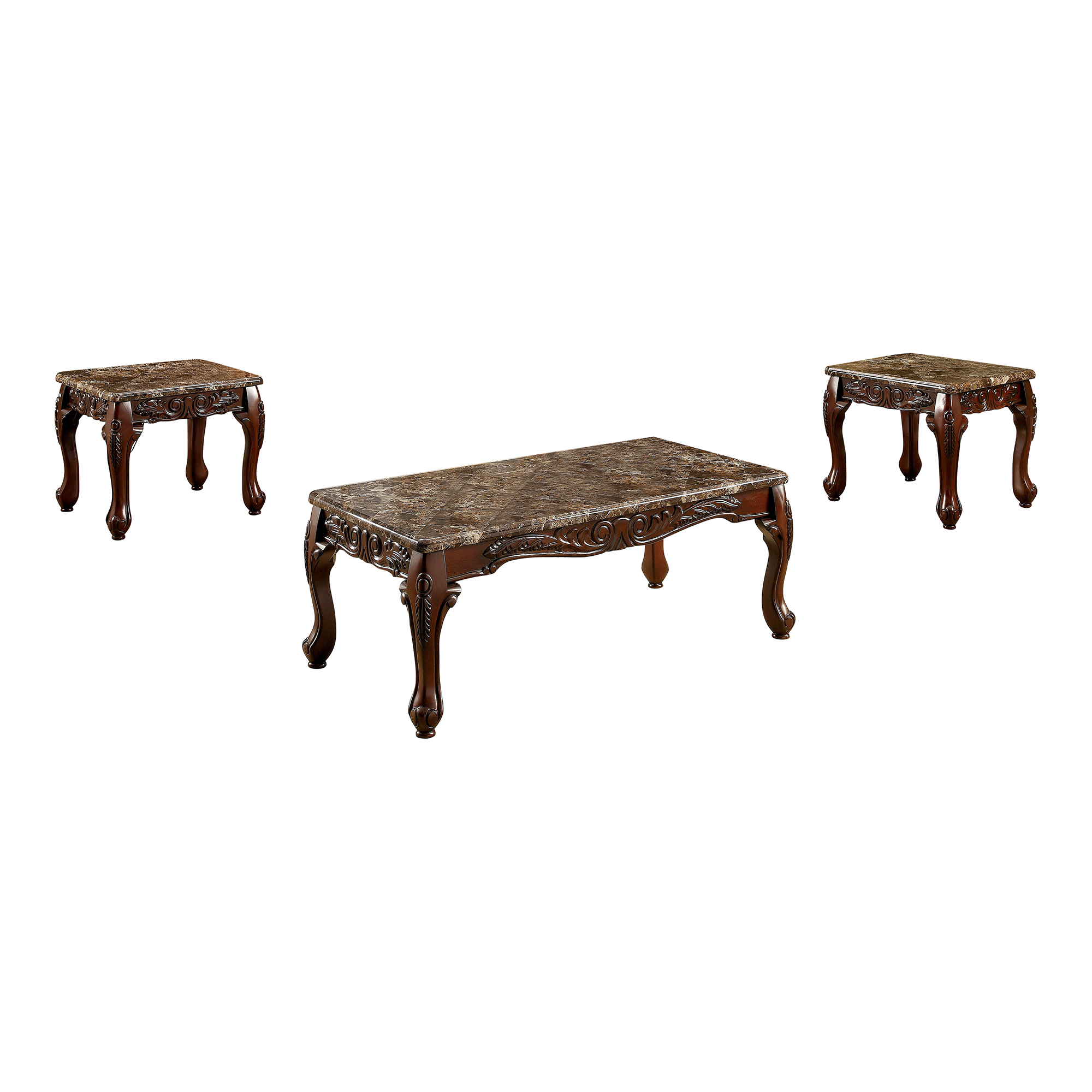 Attractive Furniture Of America Tollero Traditional Style 3 Piece Faux Marble Coffee  Table Set