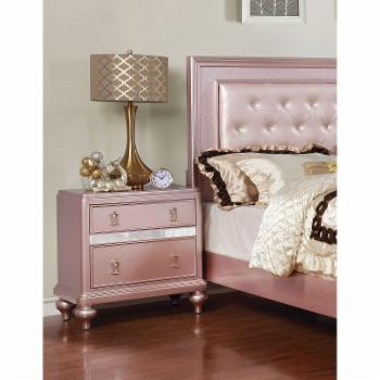 Furniture of America Rhonda Traditional Mirrored Nightstand