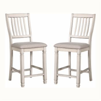 Furniture of America Loretta French Country Weathered Counter Height Dining Chair - Set of 2