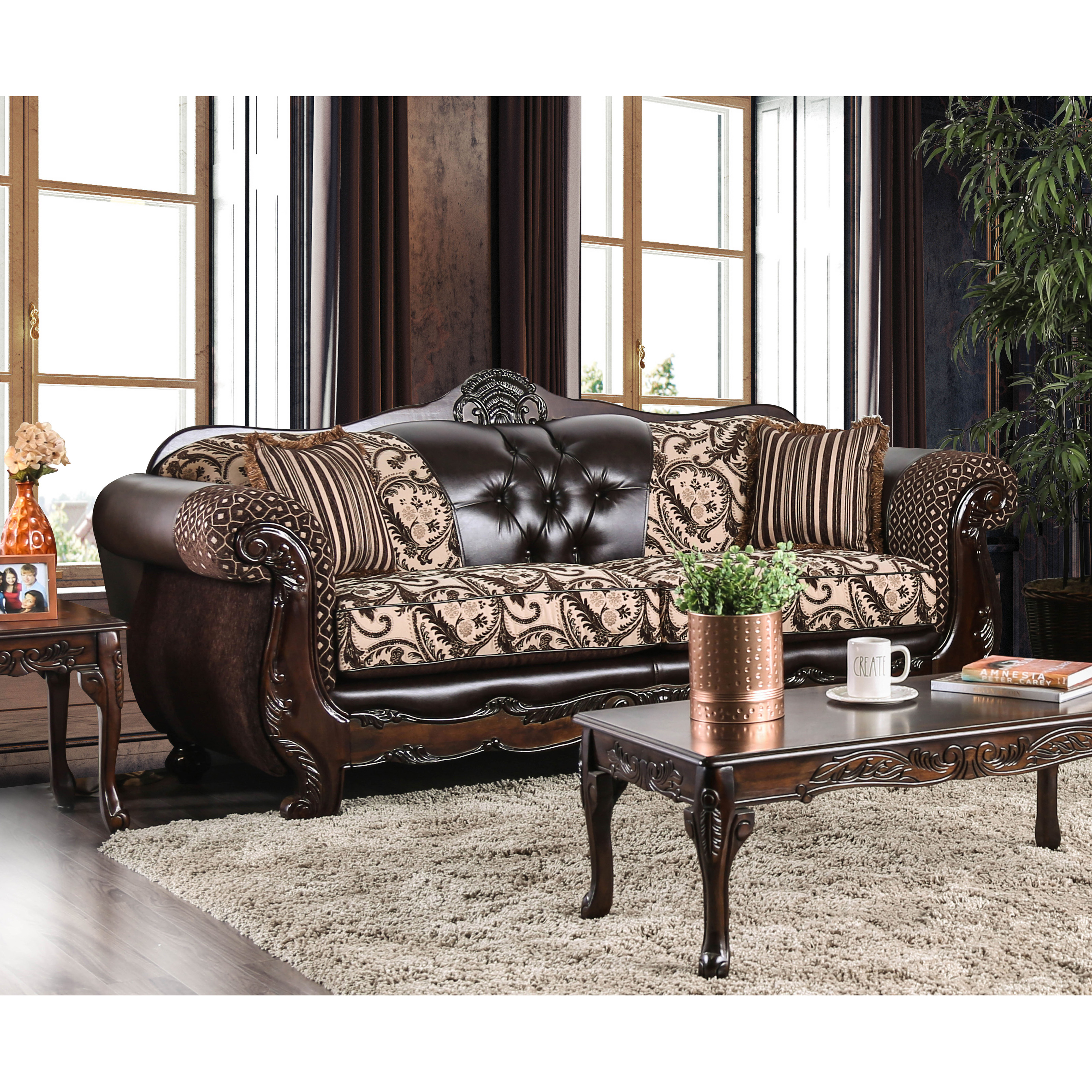 Furniture Of America Robertson Traditional Light Brown Sofa
