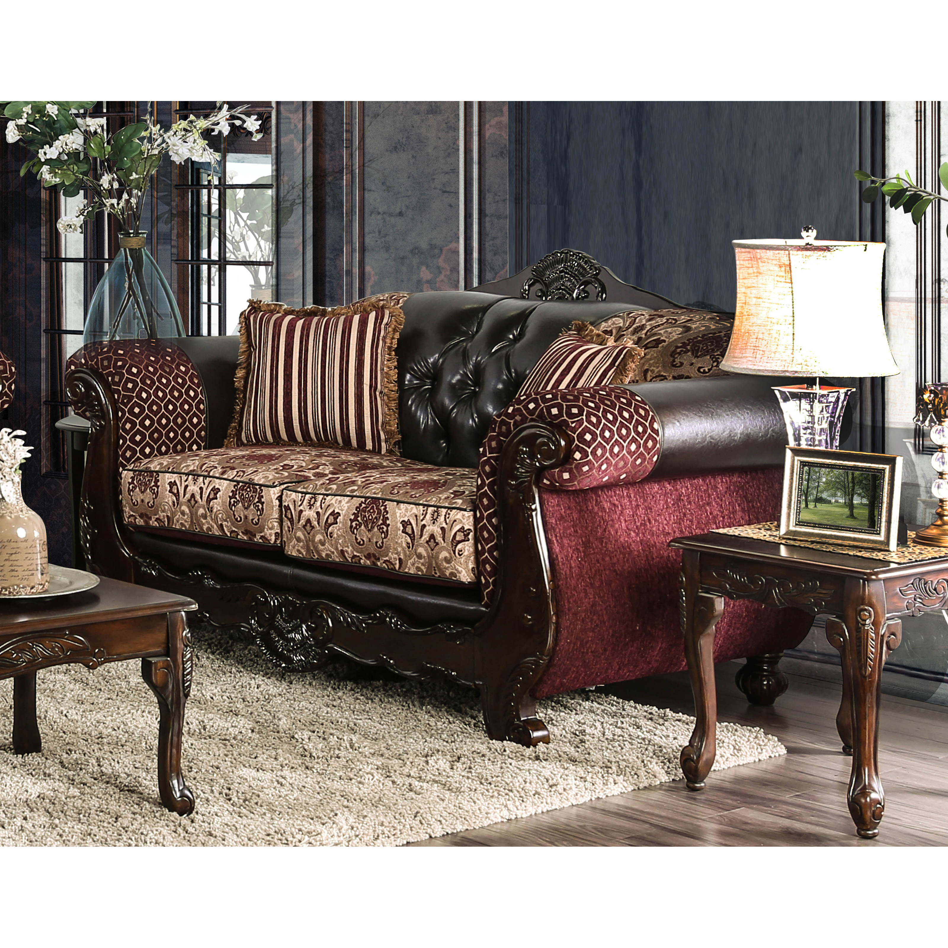 Furniture Of America Robertson Traditional Burgundy Loveseat