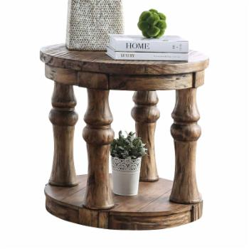 Furniture of America Tanenbaum Rustic Round End Table