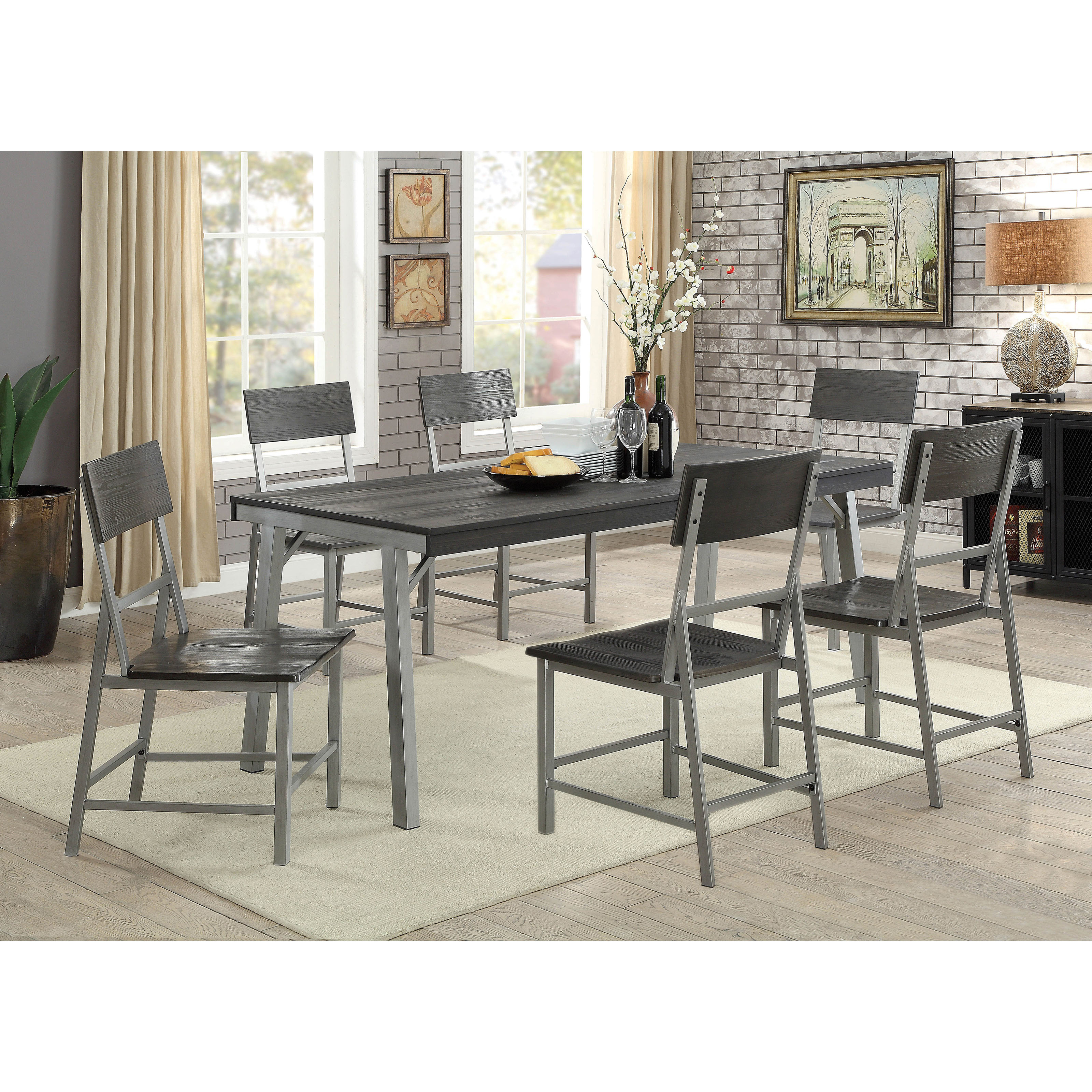 Furniture Of America Ballard 7 Piece Industrial Dining Table Set