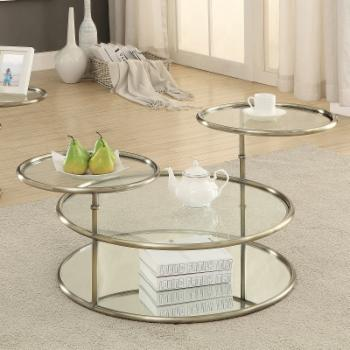 Furniture of America Leanal Modern Round Swivel Coffee Table