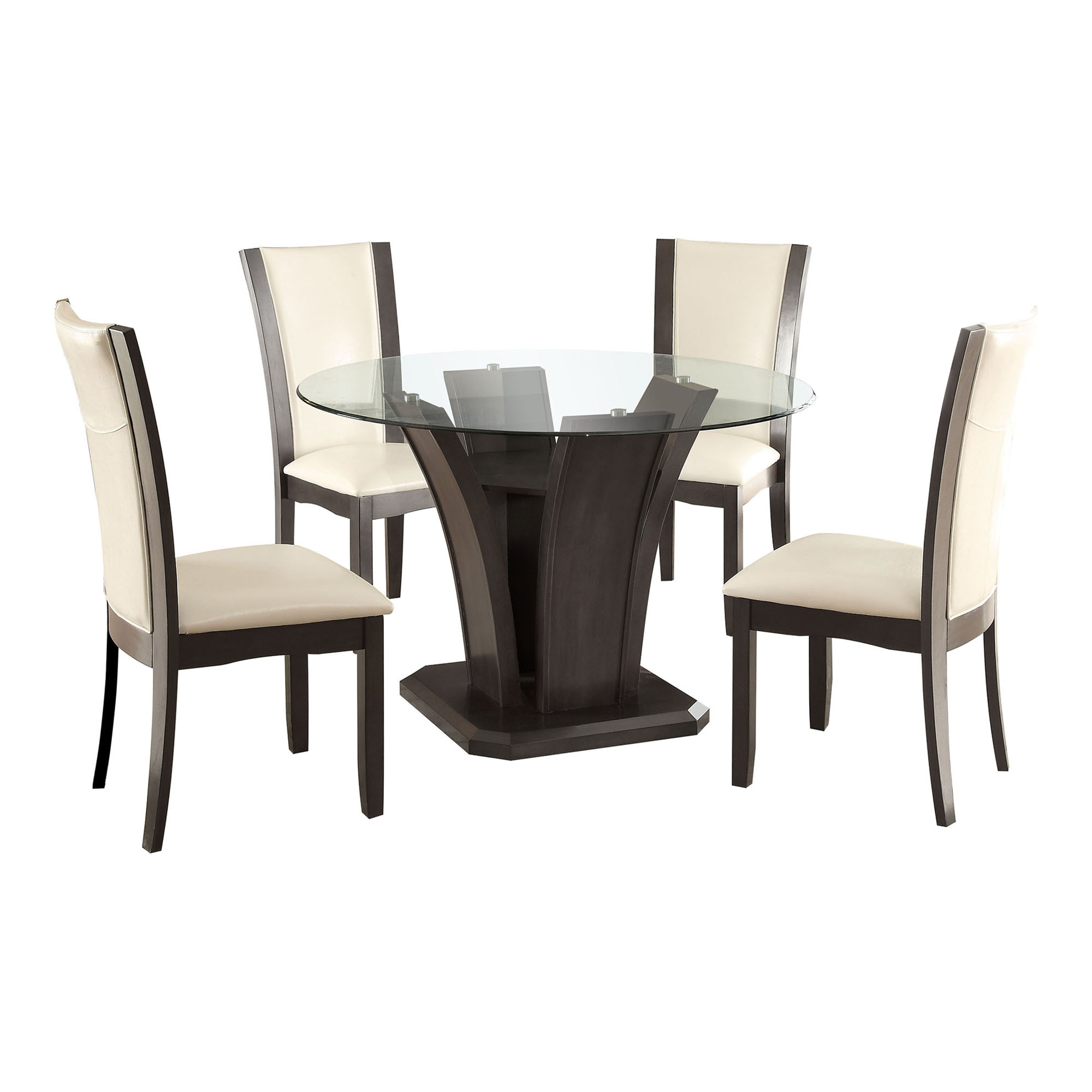 Gentil Furniture Of America Lavelle 7 Piece Tempered Glass Top Dining Table Set    White | Hayneedle