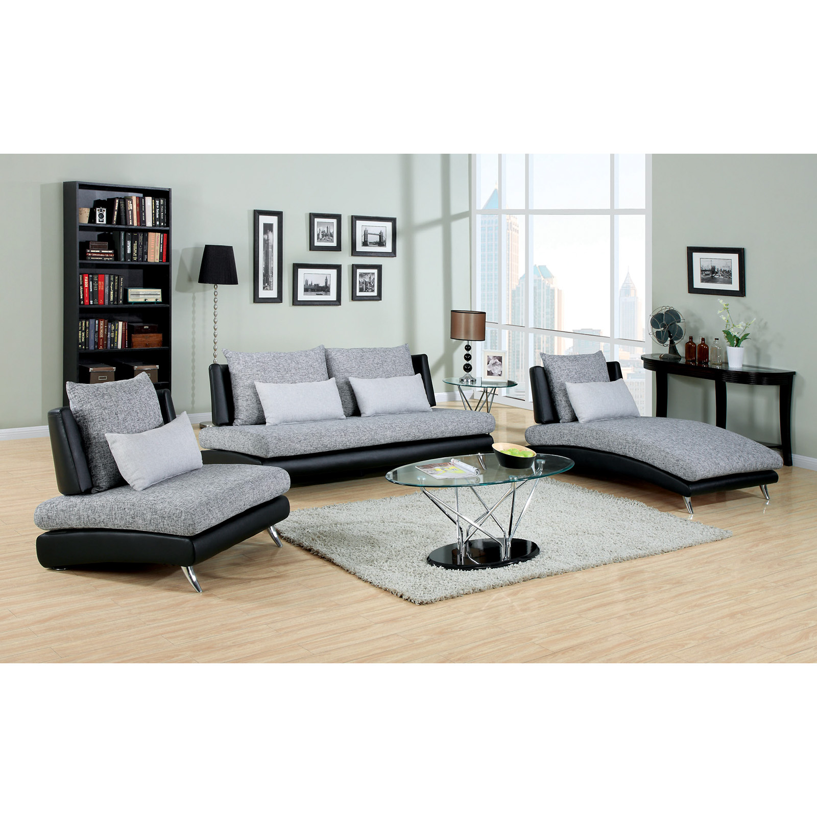Furniture of America Cole 3 Piece Fabric and Faux Leather Sofa Set