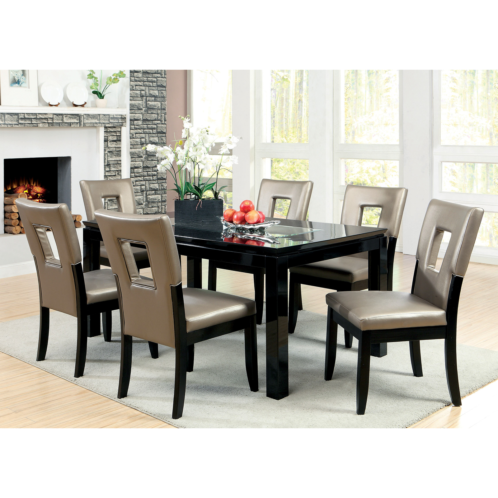 Furniture of America Vanderbilte 7 Piece Wood with Glass Inlay Dining Set  Black Hayneedle
