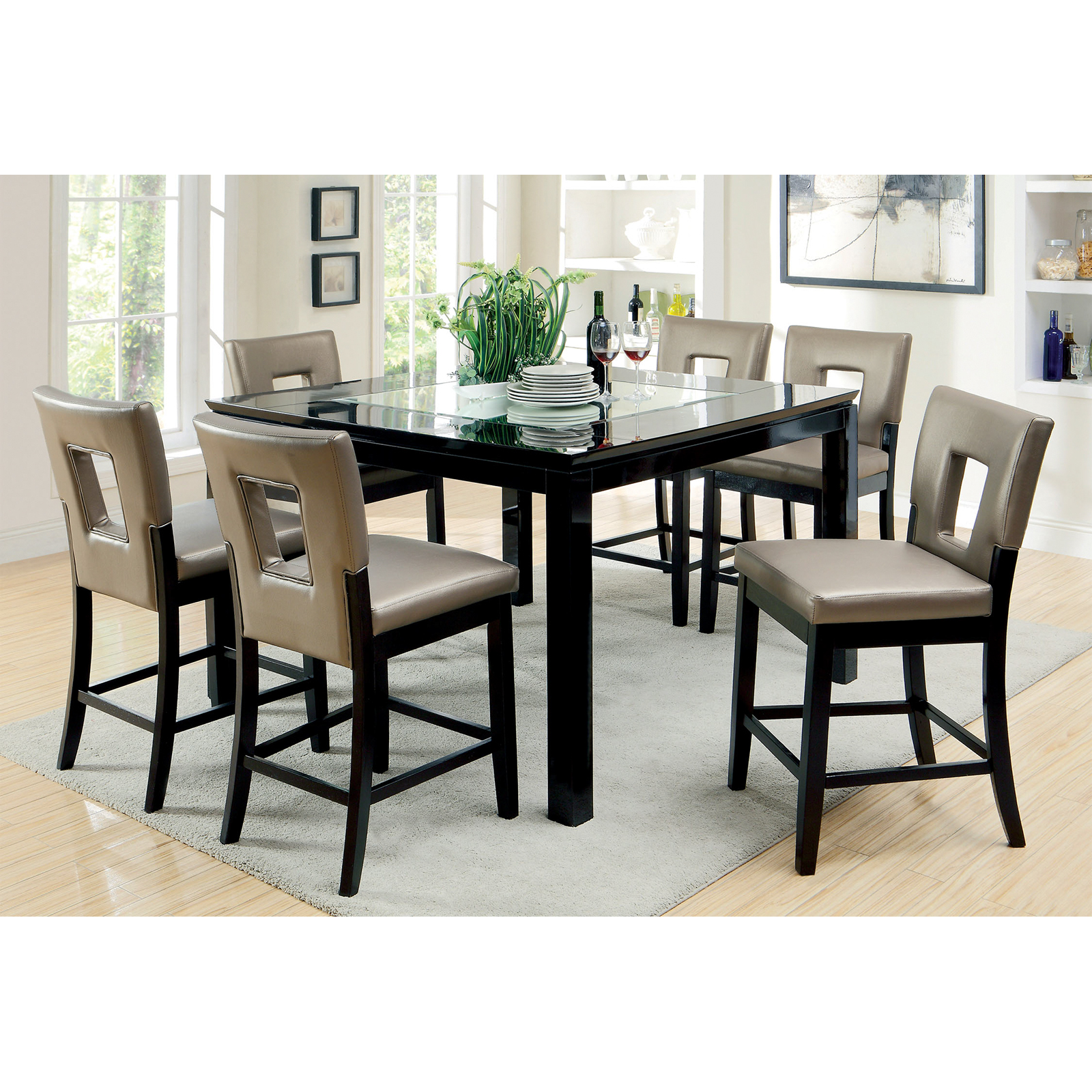 Bon Furniture Of America Vanderbilte 9 Piece Glass Inlay Counter Height Dining  Set   Black | Hayneedle