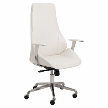 Euro Style Bergen High Back Office Chair - White / Aluminum