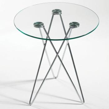 Euro Style Zoey End Table-Clear Glass/Chrome