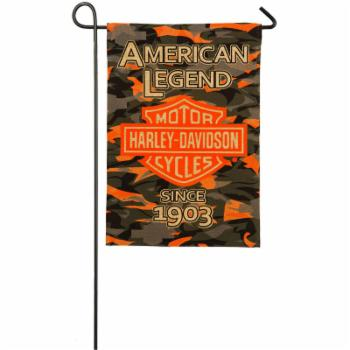 Harley-Davidson Camo Bar and Shield Burlap Garden Flag