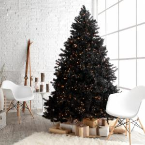classic black full pre lit christmas tree 75 ft clear