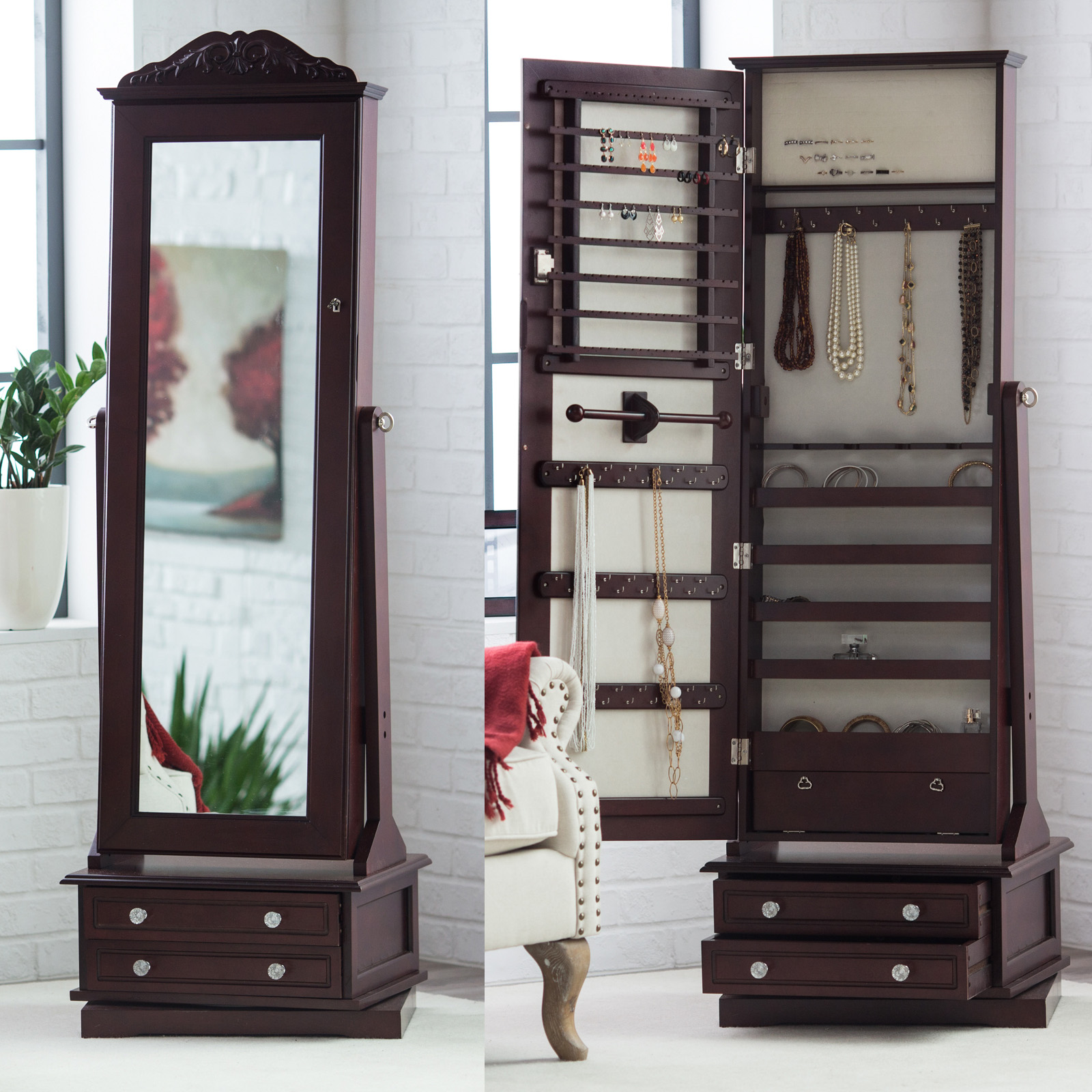 Belham Living Swivel Cheval Mirror Jewelry Armoire Hayneedle