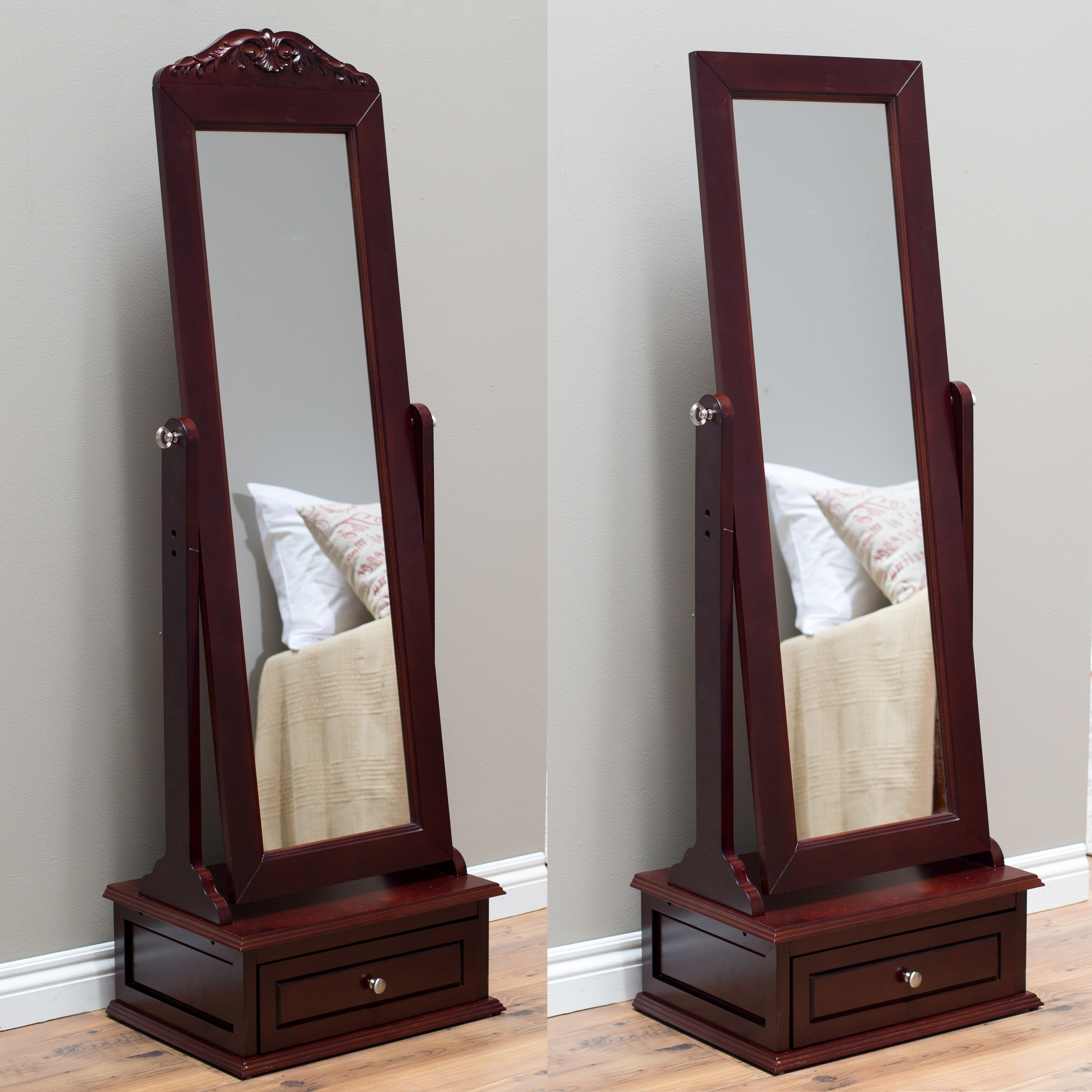 Belham Living Removable Decorative Top Cheval Mirror   Cherry   21.5W X 60H  In. | Hayneedle