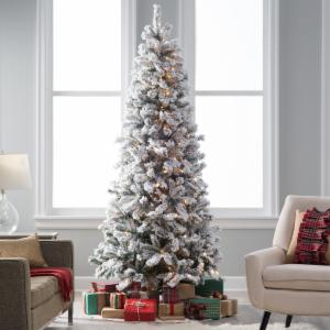 classic flocked slim pre lit christmas tree - Pencil Christmas Tree Decorating Ideas