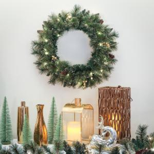 glittery gold wreath - Battery Operated Christmas Wreaths