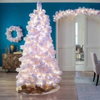 Belham Living Pre-lit White Flocked Pine Christmas Tree