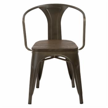 BTExpert Industrial Bistro Wood and Metal Dining Arm Chair