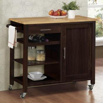 4D Concepts Calgary Kitchen Cart with Wood Top