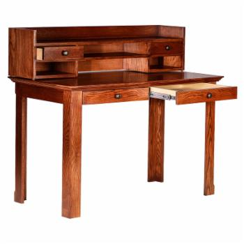 Forest Designs Traditional Writing Table with Hutch and Black Knobs
