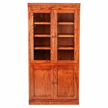Forest Designs Mission Bookcase with Full Glass Doors and Black Knobs