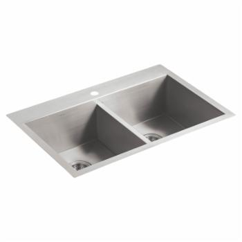 Kohler Vault Double Bowl Kitchen Sink with Single Faucet Hole