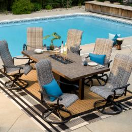 Por Patio Dining Set Shapes Rectangle