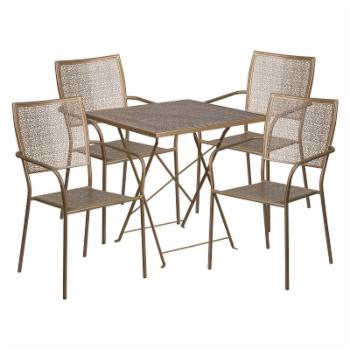 Flash Furniture Steel Square Folding Patio Dining Set