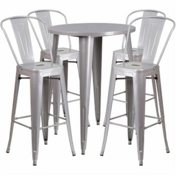 Flash Furniture 30 in. Round Metal Indoor-Outdoor Bar Table Set with 4 Splat Back Barstools