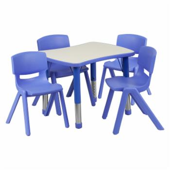 Flash Furniture 21.88W x 26.63L in. Adjustable Plastic Activity Table with 4 Chairs