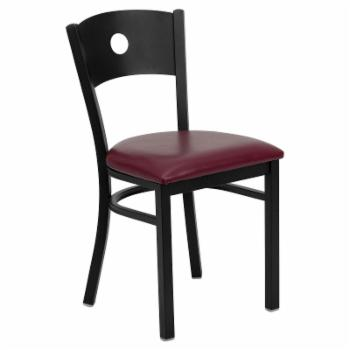 Flash Furniture Hercules 20 in. Metal and Vinyl Circle Cutout Restaurant Chair